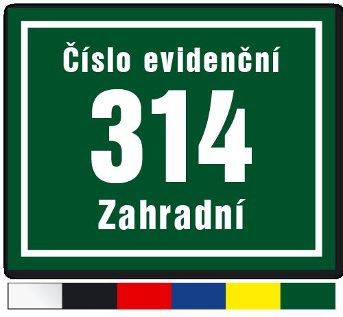 Číslo evidenční s hranatým rámečkem.