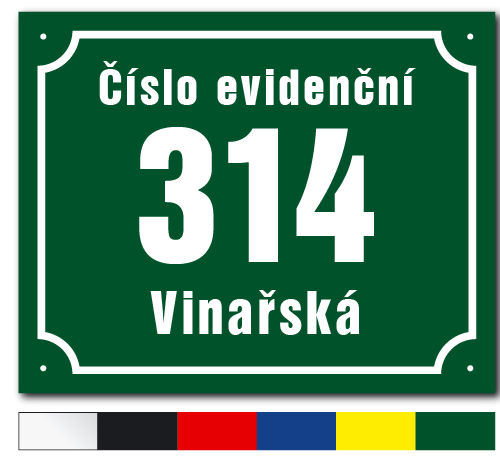Číslo evidenční s vykrojeným rámečkem.
