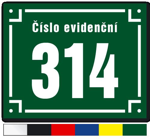 Číslo evidenční s hranatým děleným rámečkem.