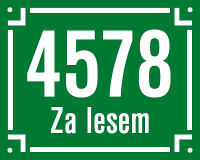 Číslo s jedním řádkem textu a hranatým děleným rámečkem.