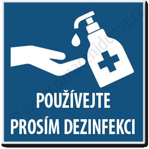 Tabulka s piktogramem dezinfekce a textem.