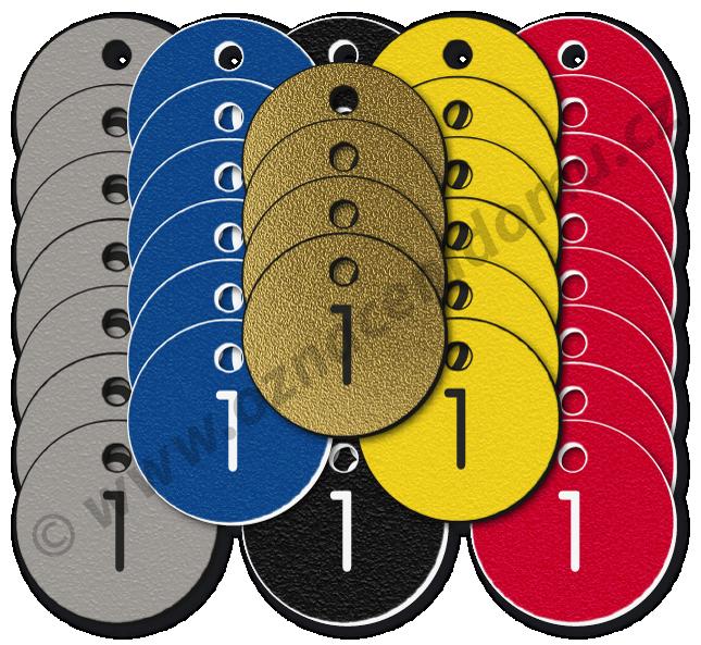 SADY kulatých klíčenek s čísly, tvrzený texturovaný povrch. ∅ 25 mm