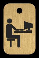 Klíčenka s obrázkem člověka u počítače
