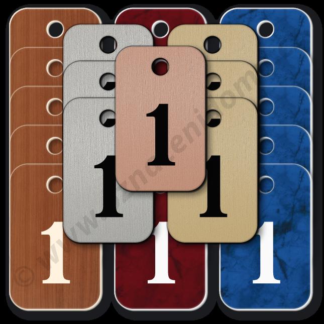 ŘADY klíčenek s čísly, imitace různých povrchů. Rozměr 25 x 40 mm