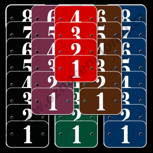 ŘADY štítků s otvory a čísly 30 x 25 mm