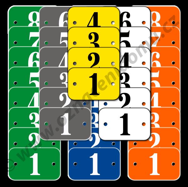 SADY štítků s otvory a čísly.