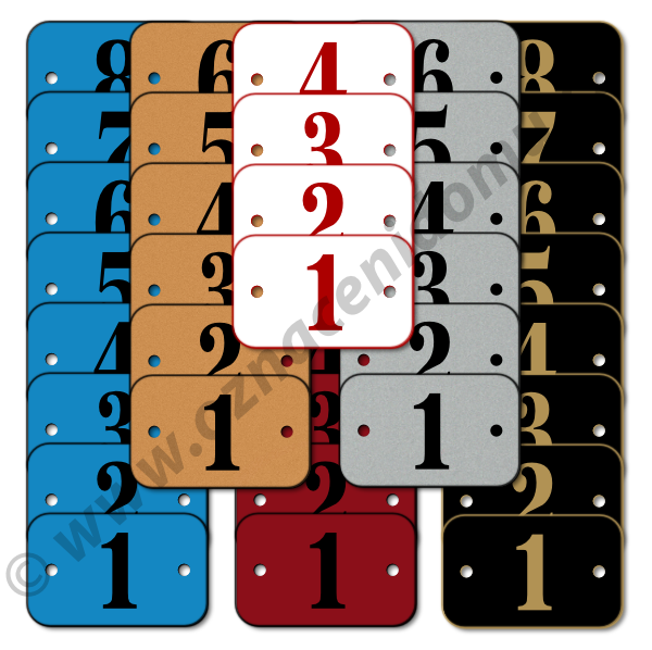 ŘADY štítků s otvory a čísly. Rozměr 40 x 25 mm