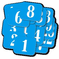 SADY samolepicích štítků s čísly.