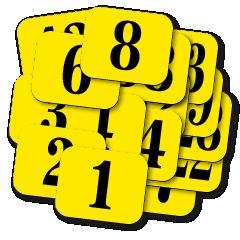 ŘADY samolepicích štítků s čísly. Rozměr 30 x 25 mm